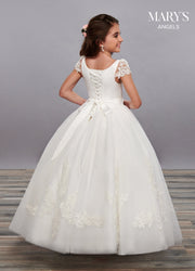 Girls Long A-line Dress with Lace Sleeves by Mary's Bridal MB9060-Girls Formal Dresses-ABC Fashion
