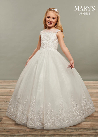Girls Long Applique Cap Sleeve Glitter Dress by Mary's Bridal MB9071