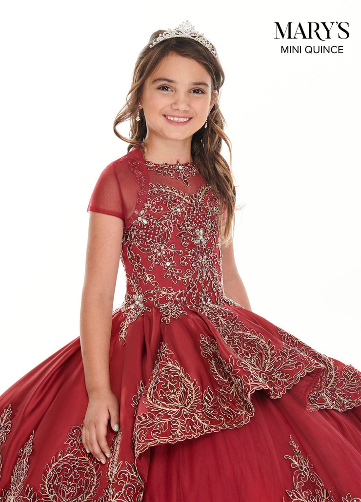 Girls Long Applique Illusion Dress by Mary's Bridal MQ4021-Girls Formal Dresses-ABC Fashion