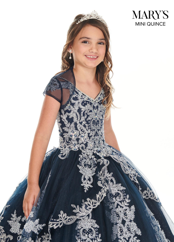 Girls Long Applique Off Shoulder Dress by Mary's Bridal MQ4018-Girls Formal Dresses-ABC Fashion