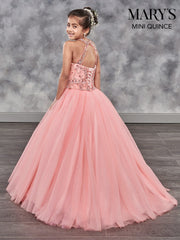 Girls Long Beaded Halter Dress with Train by Mary's Bridal MQ4001-Girls Formal Dresses-ABC Fashion