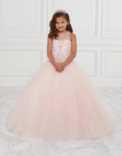 Girls Long Beaded Illusion Dress by Tiffany Princess 13593-Girls Formal Dresses-ABC Fashion