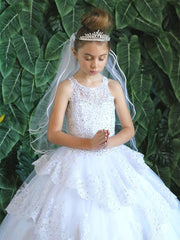 Girls Long Beaded Lace Dress with Glitter Skirt by Calla KY224-Girls Formal Dresses-ABC Fashion