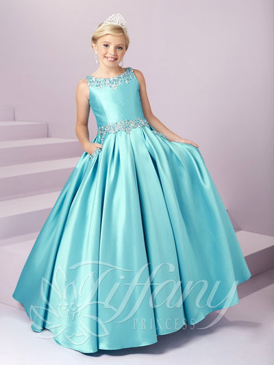 Girls Long Beaded Mikado Dress by Tiffany Princess 13485-Girls Formal Dresses-ABC Fashion