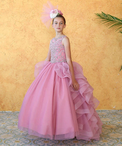 Girls Long Beaded Sleeveless Dress with Ruffled Train by Calla KY218-Girls Formal Dresses-ABC Fashion