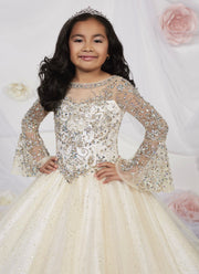 Girls Long Bell Sleeved Glitter Dress by Tiffany Princess 13531-Girls Formal Dresses-ABC Fashion