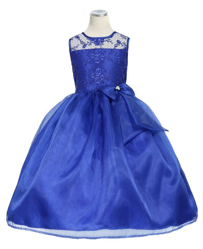Girls Long Blue Lace Bodice Dress with Bow by Calla KD2461-Girls Formal Dresses-ABC Fashion
