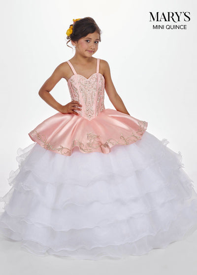 Girls Long Charro Dress with Ruffled Skirt by Mary's Bridal MQ4010-Girls Formal Dresses-ABC Fashion