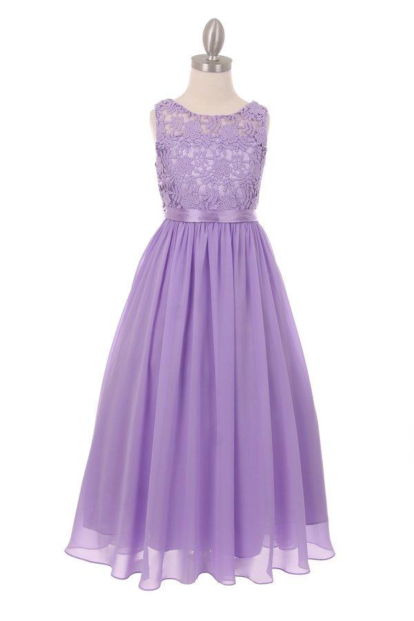 Girls Long Chiffon Dress with Lace Bodice by Cinderella Couture 5006-Girls Formal Dresses-ABC Fashio
