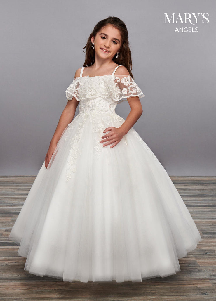 Girls Long Cold Shoulder Lace Dress by Mary's Bridal MB9059-Girls Formal Dresses-ABC Fashion