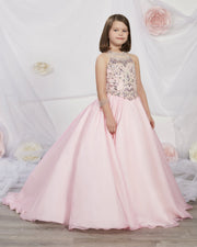 Girls Long Embellished Chiffon Dress by Tiffany Princess 13534-Girls Formal Dresses-ABC Fashion