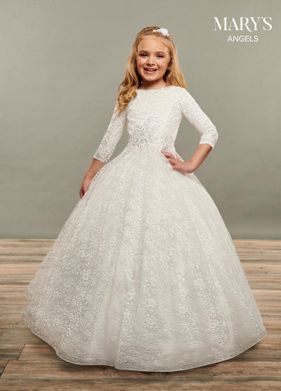Girls Long Embroidered 3/4 Sleeve Dress by Mary's Bridal MB9072