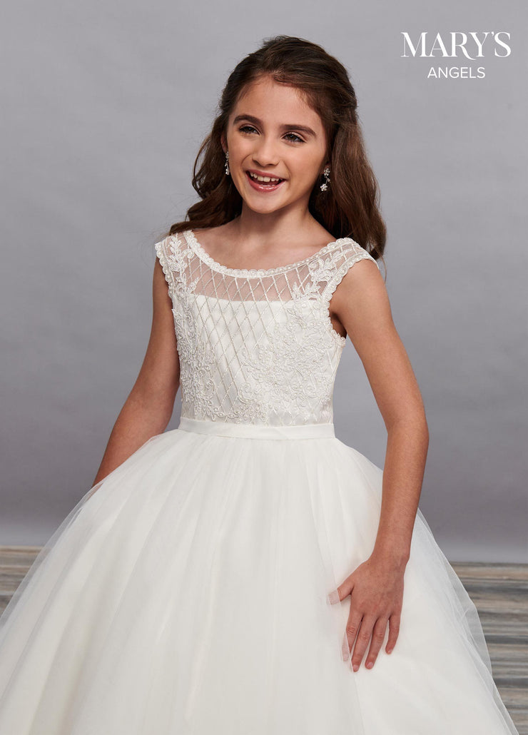 Girls Long Embroidered Dress with Cap Sleeves by Mary's Bridal MB9061-Girls Formal Dresses-ABC Fashion