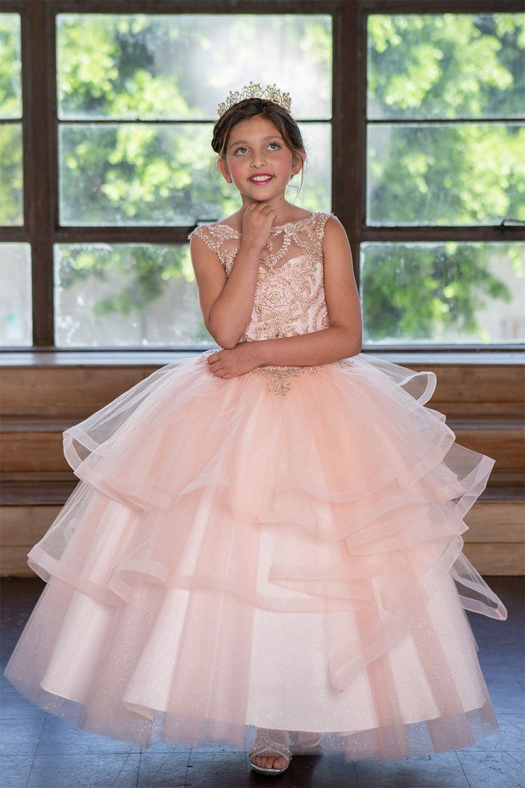 Girls Long Embroidered Dress with Layered Skirt by Calla KY222-Girls Formal Dresses-ABC Fashion