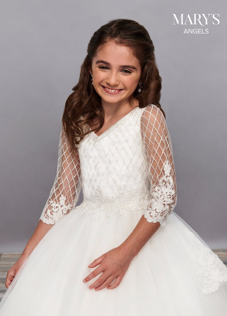 Girls Long Embroidered Dress with Sheer Sleeves by Mary's Bridal MB9056-Girls Formal Dresses-ABC Fashion