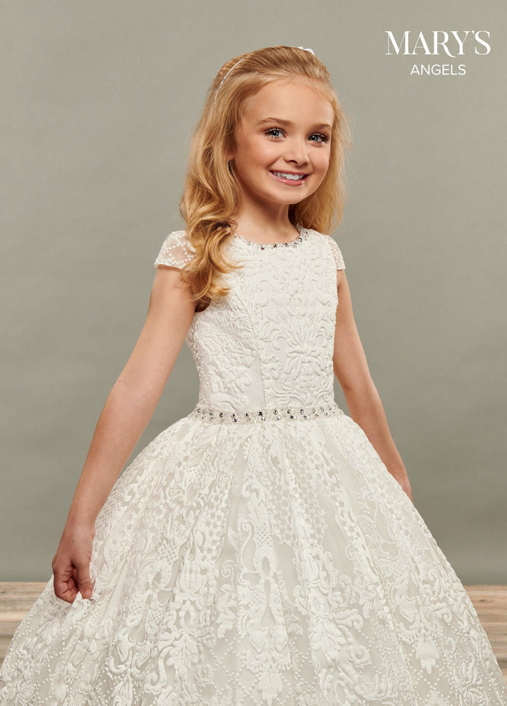 Girls Long Embroidered Short Sleeve Dress by Mary's Bridal MB9065