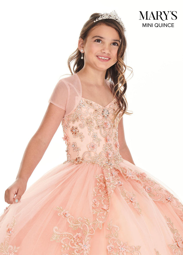 Girls Long Floral Applique Dress by Mary's Bridal MQ4020-Girls Formal Dresses-ABC Fashion