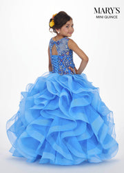 Girls Long Floral Applique Dress with Ruffled Skirt by Mary's Bridal MQ4005-Girls Formal Dresses-ABC Fashion