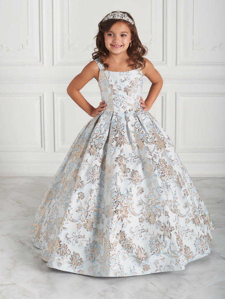 Girls Long Floral Brocade Print Dress by Mini Quince 26947MQ-Girls Formal Dresses-ABC Fashion
