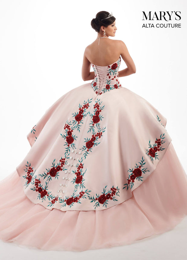 Girls Long Floral Charro A-line Dress by Mary's Bridal MQ4009