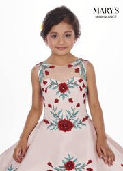 Girls Long Floral Charro Dress with A-line Skirt by Mary's Bridal MQ4009-Girls Formal Dresses-ABC Fashion