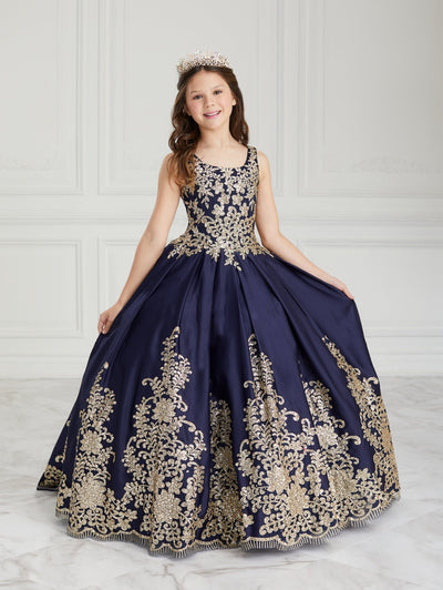 Girls Long Glitter Floral Print Dress by Tiffany Princess 13614
