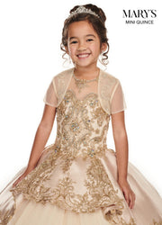 Girls Long Gold Applique Illusion Dress by Mary's Bridal MQ4014-Girls Formal Dresses-ABC Fashion