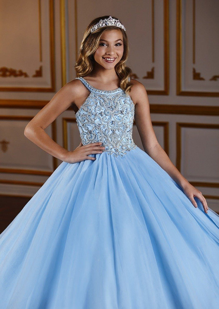 Girls Long Halter Dress with Beaded Bodice by Tiffany Princess 13576-Girls Formal Dresses-ABC Fashion
