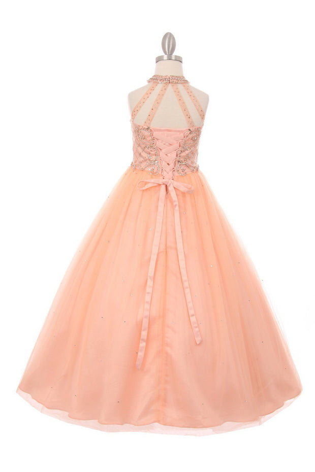 Girls Long Halter Dress with Beaded Illusion Bodice-Girls Formal Dresses-ABC Fashion