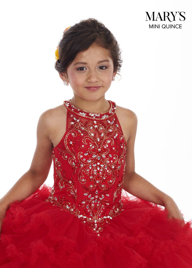 Girls Long Halter Dress with Ruffled Skirt by Mary's Bridal MQ4008-Girls Formal Dresses-ABC Fashion