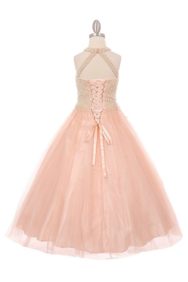 Girls Long Halter Formal Dress with Pearl Beaded Illusion Bodice-Girls Formal Dresses-ABC Fashion