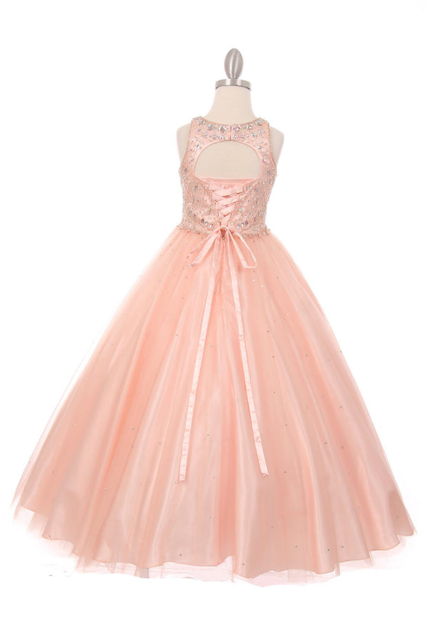 Girls Long Halter Tulle Dress with Beaded Illusion Bodice-Girls Formal Dresses-ABC Fashion