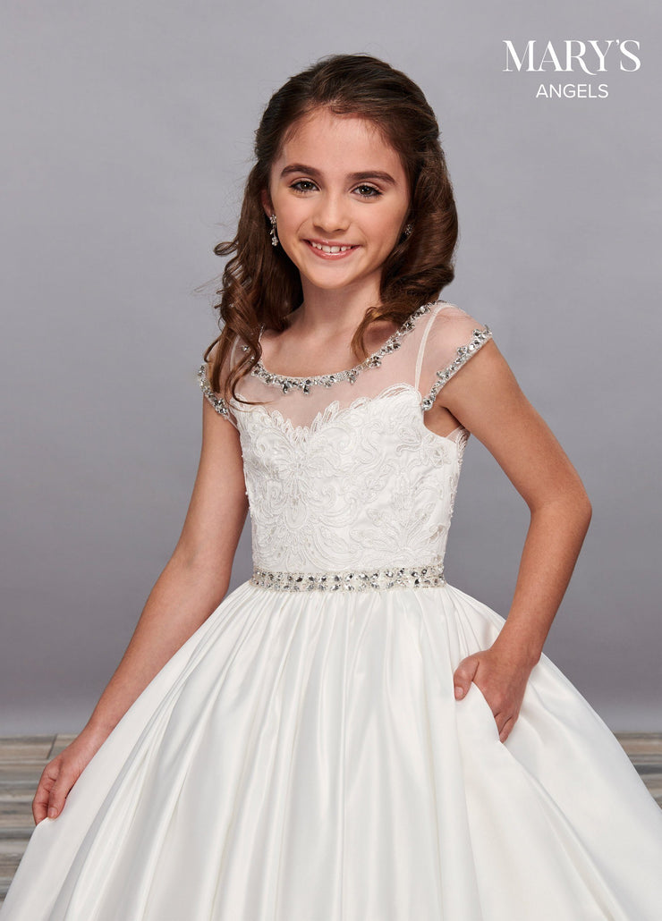 Girls Long Illusion Dress with Cap Sleeves by Mary's Bridal MB9054-Girls Formal Dresses-ABC Fashion