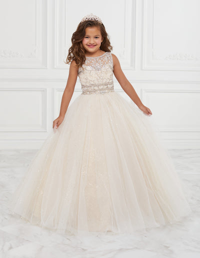 Girls Long Illusion Glitter Dress by Tiffany Princess 13601-Girls Formal Dresses-ABC Fashion