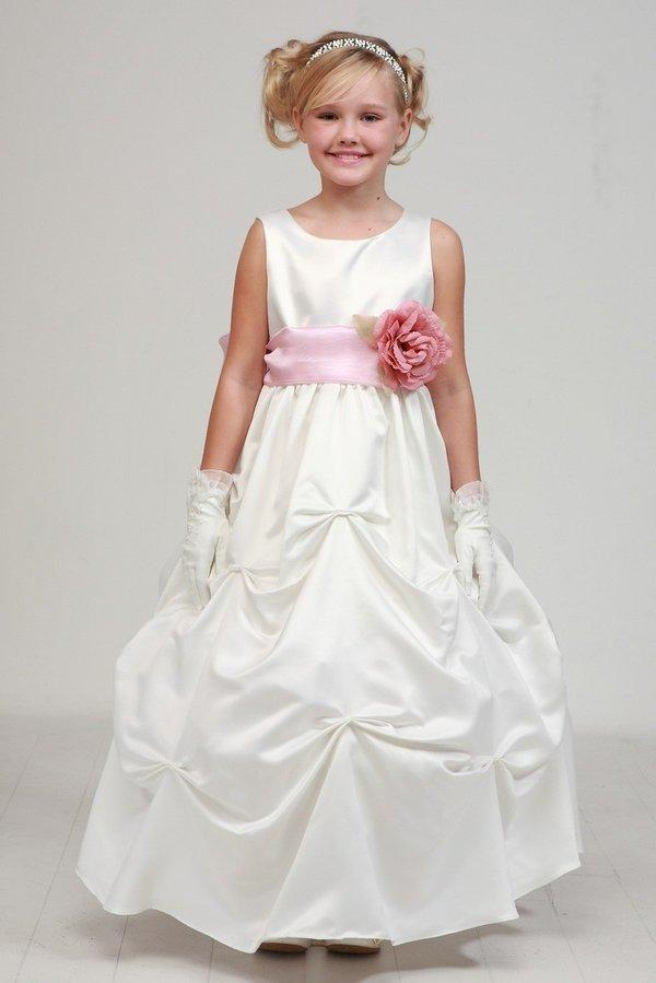 Girls Long Ivory Pick-Up Dress with Burgundy Floral Sash-Girls Formal Dresses-ABC Fashion