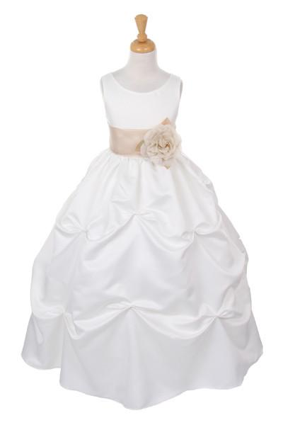 Girls Long Ivory Pick-Up Dress with Champagne Floral Sash-Girls Formal Dresses-ABC Fashion