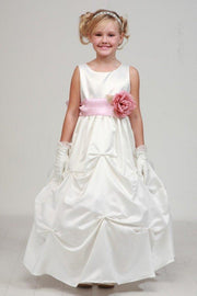 Girls Long Ivory Pick-Up Dress with Sage Sash and Peach Flower-Girls Formal Dresses-ABC Fashion