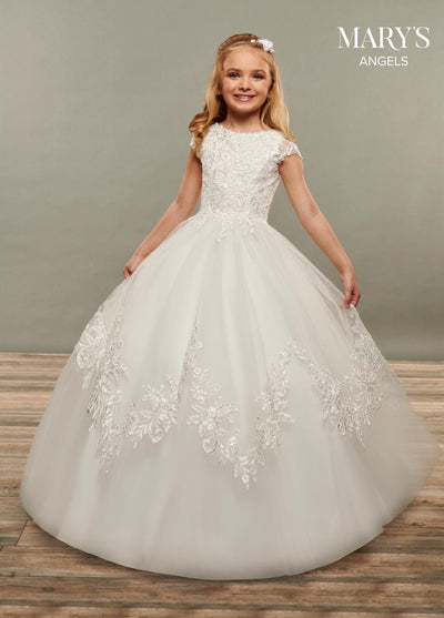Girls Long Applique Cap Sleeve Dress by Mary's Bridal MB9073