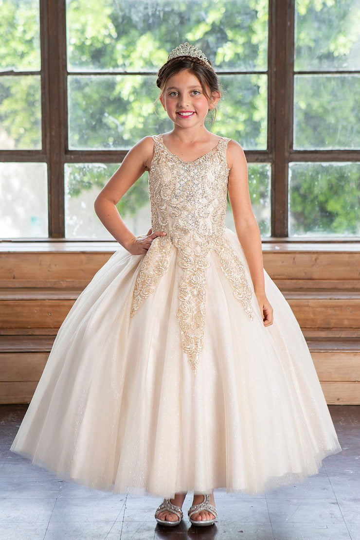 Girls Long Lace Applique Dress with Glitter Skirt by Calla KY221-Girls Formal Dresses-ABC Fashion