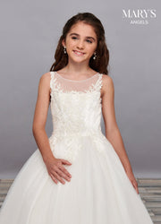 Girls Long Lace Applique Illusion Dress by Mary's Bridal MB9057-Girls Formal Dresses-ABC Fashion
