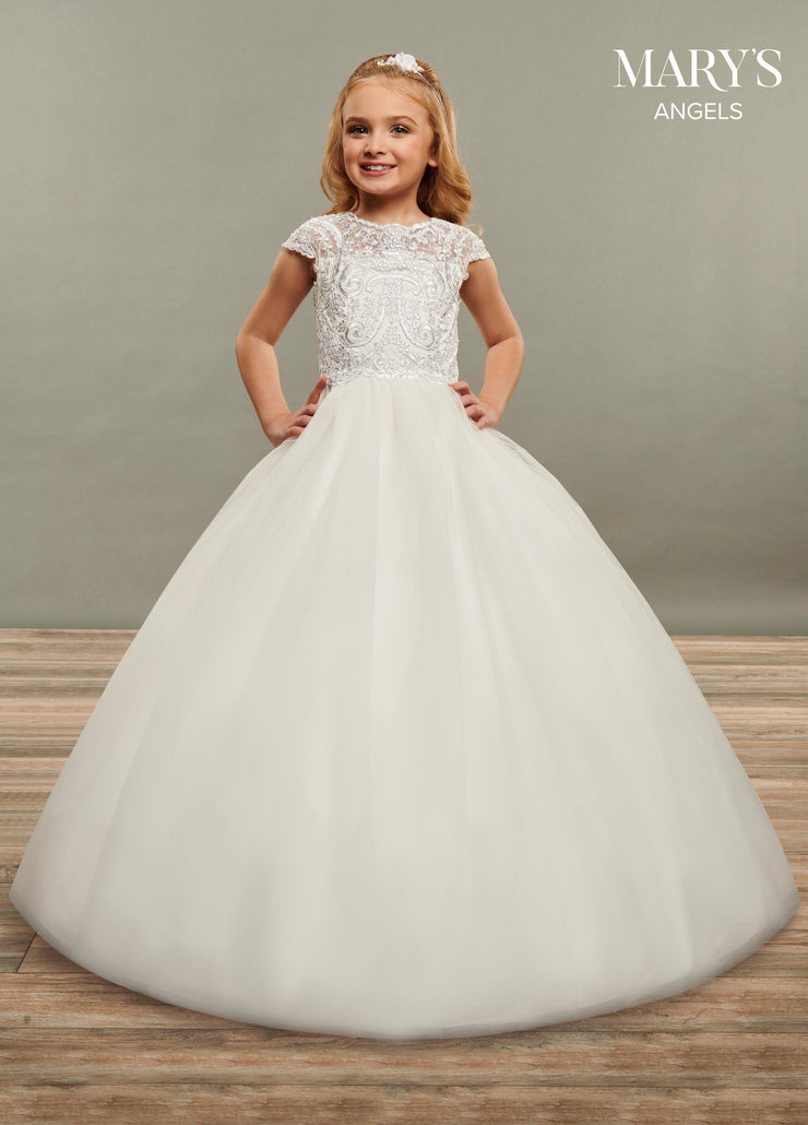 Girls Long Lace Applique Short Sleeve Dress by Mary's Bridal MB9069