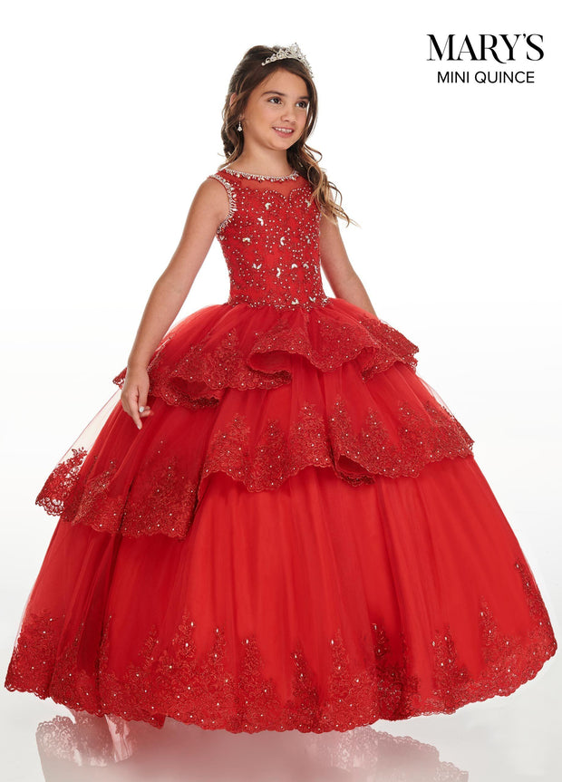 Girls Long Lace Applique Tiered Dress by Mary's Bridal MQ4019-Girls Formal Dresses-ABC Fashion