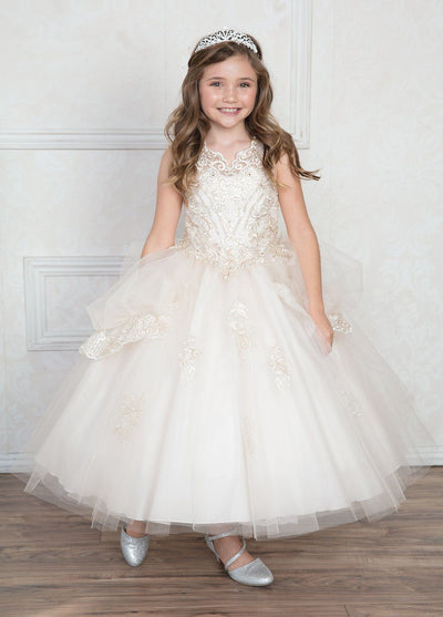 Girls Long Lace Appliqued Dress with Layered Skirt by Calla SY133-Girls Formal Dresses-ABC Fashion