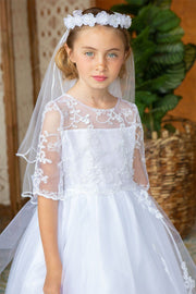 Girls Long Lace Bodice Dress with 3/4 Sleeves by Calla D789-Girls Formal Dresses-ABC Fashion