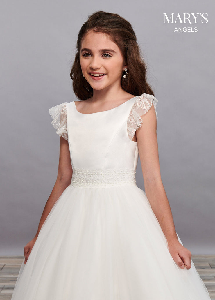 Girls Long Lace Dress with Ruffled Sleeves by Mary's Bridal MB9062-Girls Formal Dresses-ABC Fashion