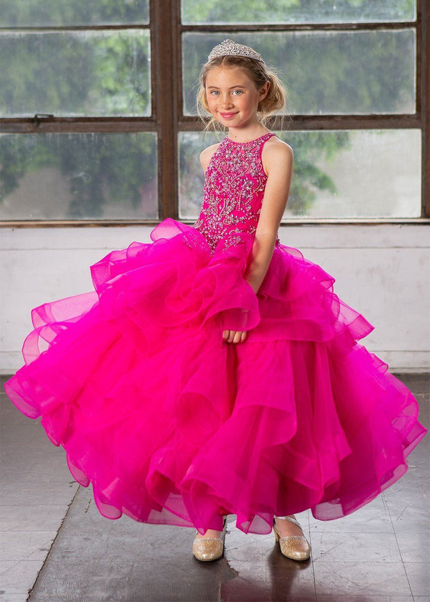 Girls Long Layered Dress with Beaded Bodice by Calla KY217-Girls Formal Dresses-ABC Fashion