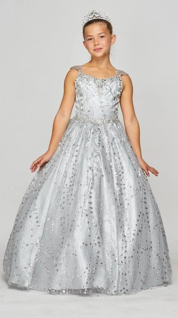 Girls Long Sleeveless Glitter Dress by Cinderella Couture 8007