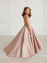 Girls Long Metallic Glitter Dress by Tiffany Princess 13632