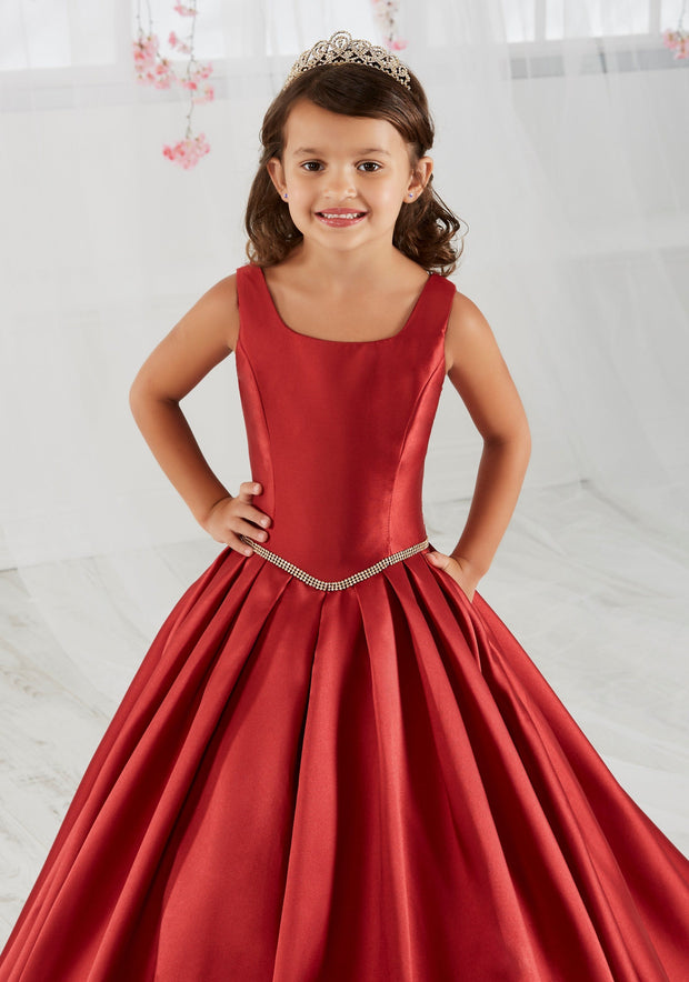 Girls Long Mikado Dress with Pockets by Tiffany Princess 13560-Girls Formal Dresses-ABC Fashion
