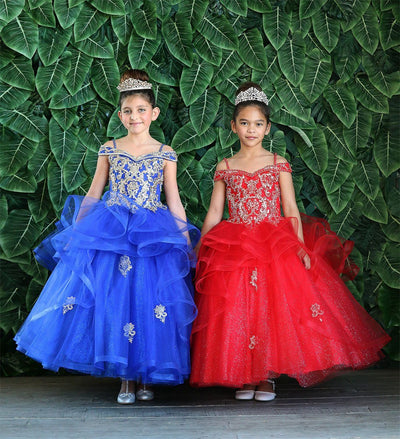 Girls Long Off Shoulder Dress with Glitter Skirt by Calla KY223-Girls Formal Dresses-ABC Fashion